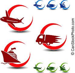 livraison, vecteur, -, symboles, avion, voiture, expédition, bateau