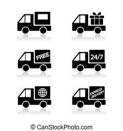 livraison, vecteur, voiture, expédition