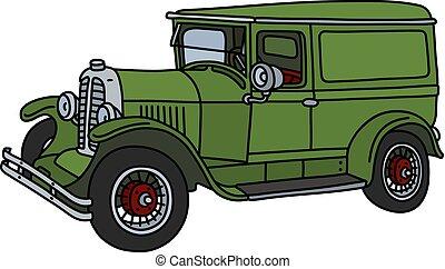 livraison, vendange, voiture verte