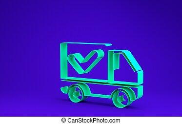 livraison, vert, 3d, camion, icône, bleu, chèque, render, minimalisme, concept., isolé, illustration, arrière-plan., marque