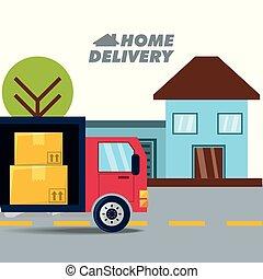 livraison, ville, boîtes, coffre, paquet