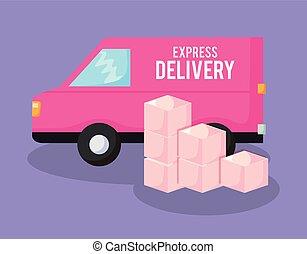 livraison, voiture, boîtes, fourgon, service