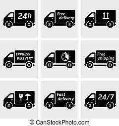 livraison, voiture, icônes