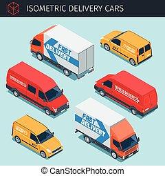 livraison, voitures, isométrique