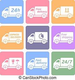 livraison, voitures, vecteur, expédition, icônes