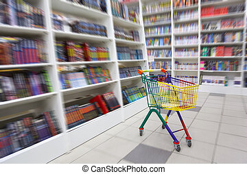 livraria, lá, carreta, luminoso, livros, interior., frente, ...