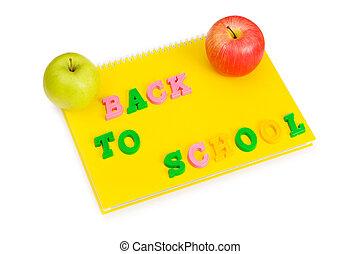 livre, école, concept, dos, pommes