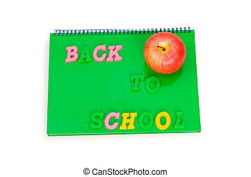 livre, école, concept, pomme, dos