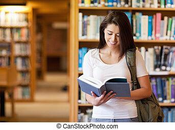 livre, étudiant, sourire, lecture
