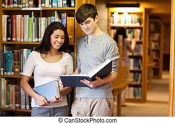 livre, étudiants, beau, lecture