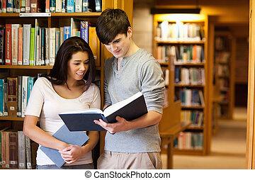 livre, étudiants, jeune, lecture