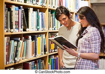 livre, adultes, jeune, lecture
