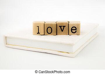 livre, amour, pile, rédaction