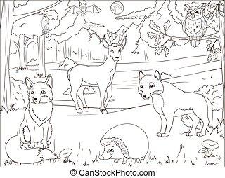 livre, animaux, coloration, dessin animé, forêt