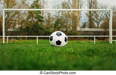 livre, antes de, estádio, marcação, relvar, gate., futebol, futebol, frente, grama verde, tradicional, típico, linha, goal., bola, pontapé