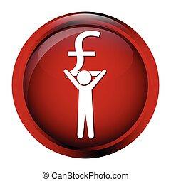 livre, argent, bouton, signe, porter, icône, homme