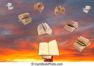 livre, au-dessus, de, pile livres, et, ciel coucher soleil