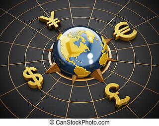 livre, autour de, yen, globe, symboles, dollar, euro