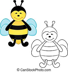 livre, bee., mignon, coloration, dessin animé