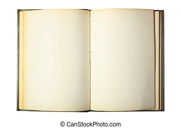 livre blanc, pages, ouvert