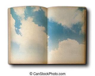 livre bleu, nuage ciel
