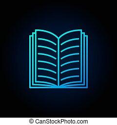livre bleu, ouvert, icône