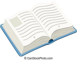 livre bleu, ouvert