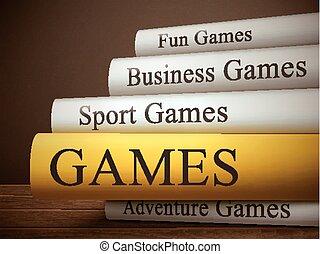 livre, bois, isolé, table, titre, jeux