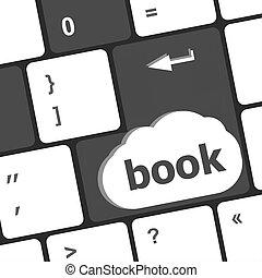 livre, bouton, sur, clavier clavier, -, concept affaires