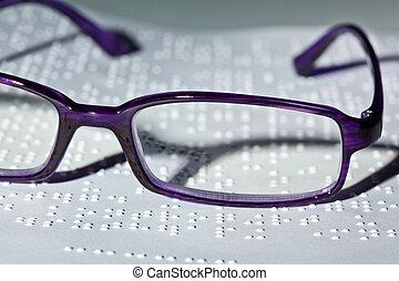 livre, braille., lunettes