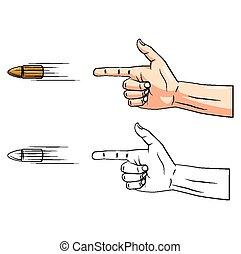 livre, caractère, coloration, fusil, main