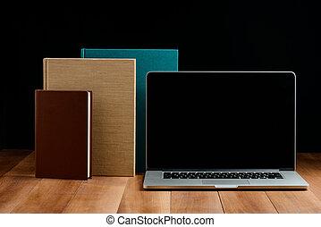 livre cartonné, livres, bois, ordinateur portable, bureau