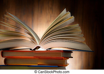 livre cartonné, livres, composition, bibliothèque