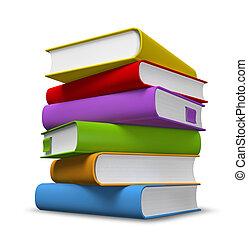 livre cartonné, livres, tas, coloré, 3d