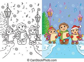 livre, chanter, noël, coloration, enfants, chants
