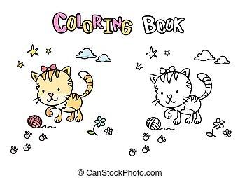 livre, chaton, chat, mignon, coloration, dessin animé