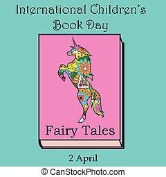 livre, childrens, jour, licorne