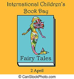 livre, childrens, sirène, jour