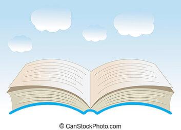 livre, ciel bleu, fond, ouvert