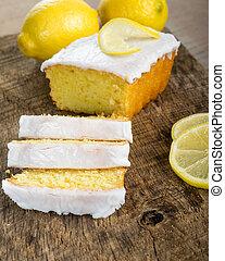 livre, citron, glaçage, coupé, gâteau, blanc