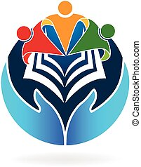 livre, collaboration, education, logo, vecteur