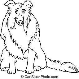 livre, colley, coloration, chien, dessin animé