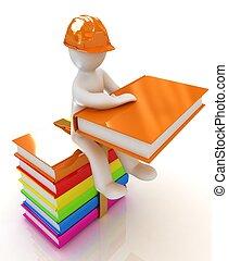 livre, coloré, homme, chapeau, dur, livres, assied, 3d