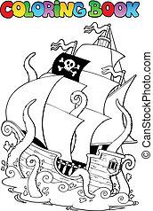 livre coloration, à, pirate, bateau, 1