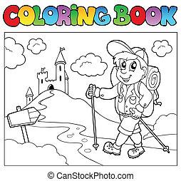 livre coloration, à, randonneur, garçon
