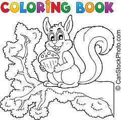 livre coloration, écureuil, thème, 1