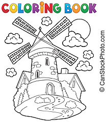 livre coloration, éolienne, 1
