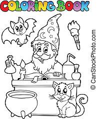 livre coloration, alchimiste, thème, 1