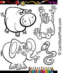 livre coloration, animaux, dessin animé