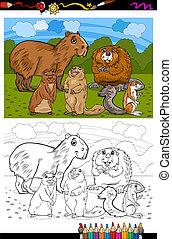 livre coloration, animaux, dessin animé, rongeurs